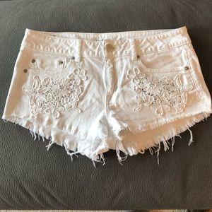 AEO White Denim Shorts w/ Lace Pockets